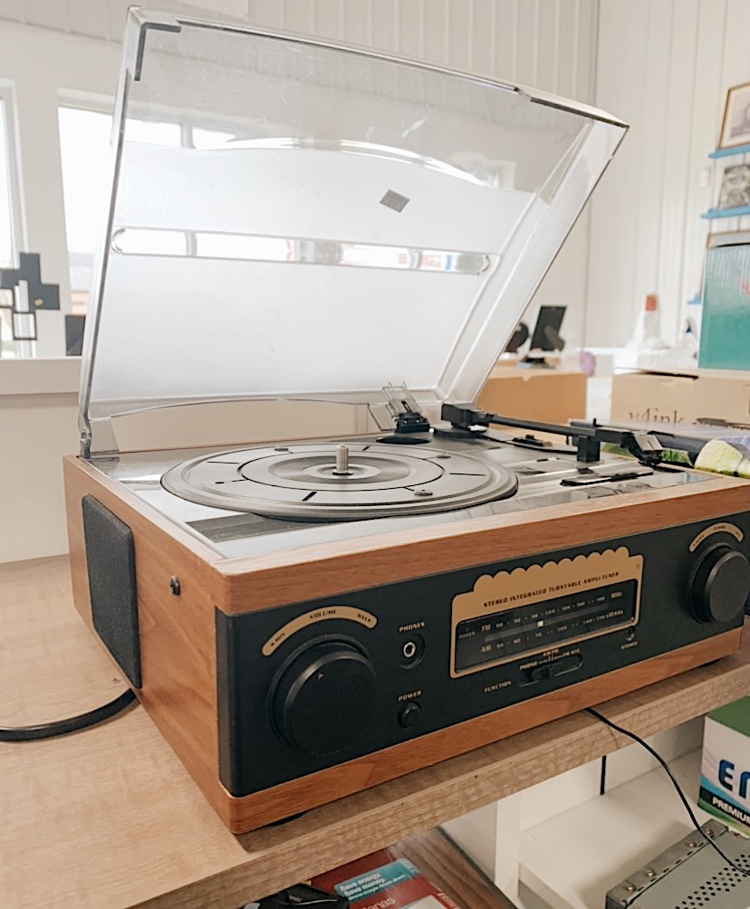 record player on a shelf